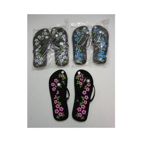 Wholesale Footwear Ladies Flip Flops With Printed Flowers