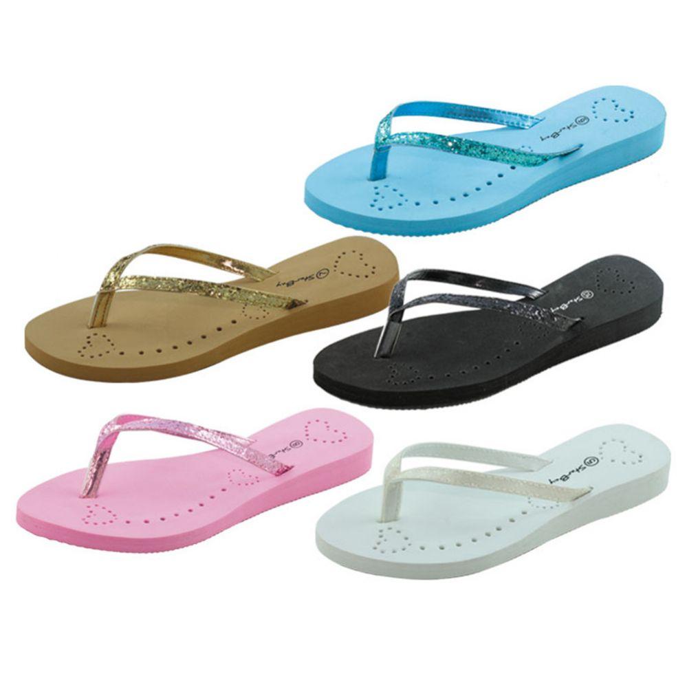 Wholesale Footwear Womans Heart And Glitter Design Flip Flops Assorted Colors