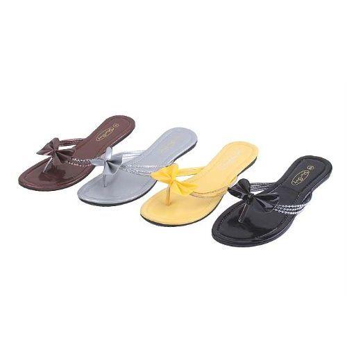 Wholesale Footwear Womans Fashion Bow Flip Flop (assorted Colors)