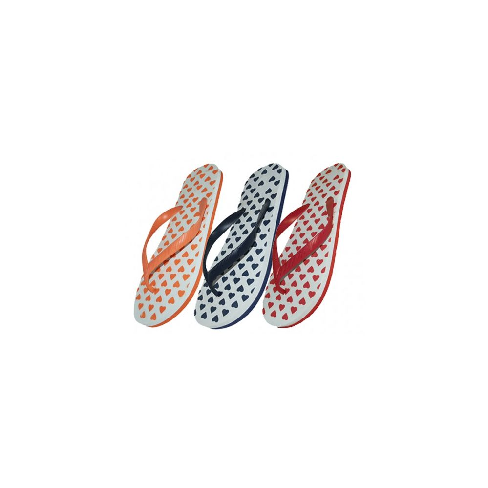 Wholesale Footwear Women's Heart Print Flip Flops