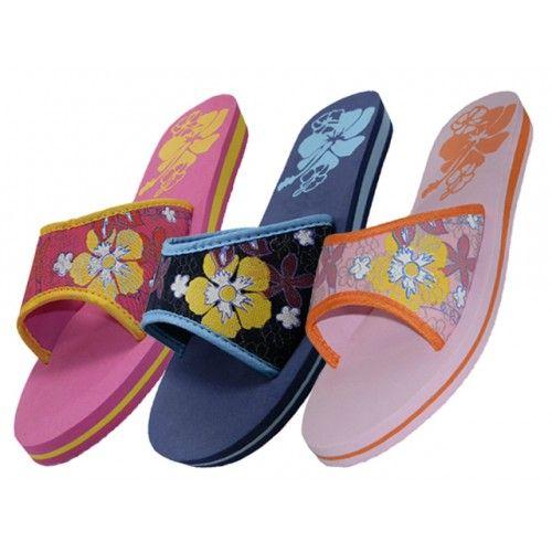 Wholesale Footwear Women's Floral Print Slide Slipper