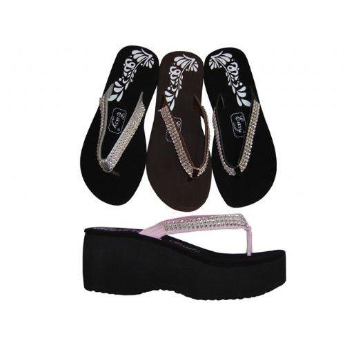 Wholesale Footwear Ladies' 3 Row Gem Wedge