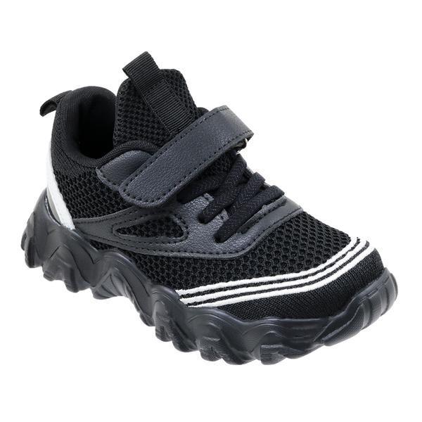 Wholesale Footwear Boys Sneaker Casual Sports Shoe In Black