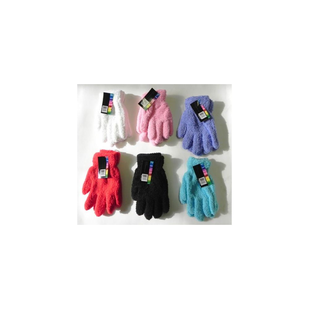 Wholesale Footwear Ladies Stretch Solid Fuzzy Gloves