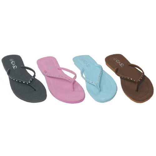 Wholesale Footwear Ladies Light Color Flip Flops With Stone Straps