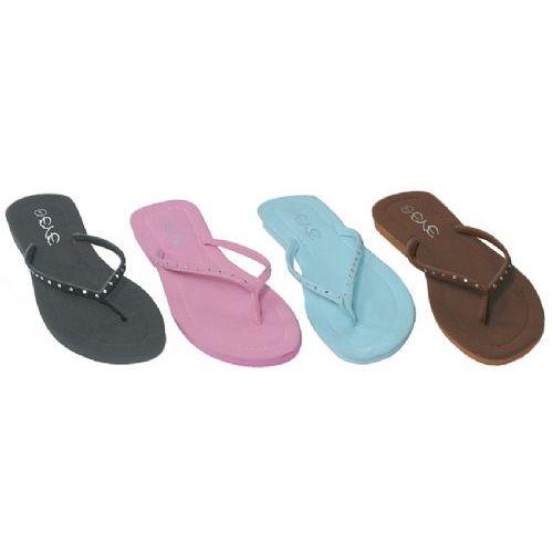 Wholesale Footwear Ladies Light Color Flip Flops With Stone Straps