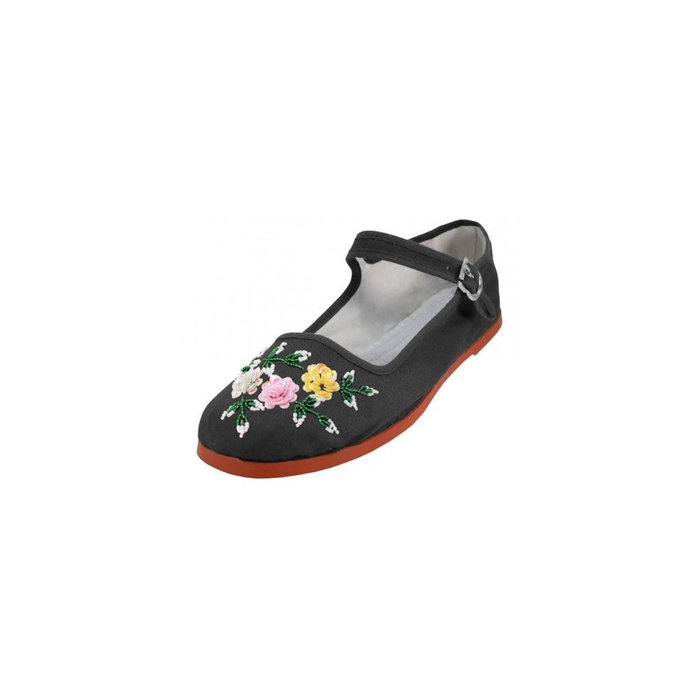 Wholesale Footwear Women's Cotton Mary Jane With Sequin (black Color Only)