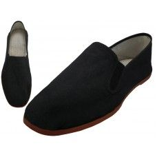 Wholesale Footwear Men's Slip On Twin Gore Cotton Upper With Rubber Out Sole Kung Fu/Tai Chi Shoe ( Black Color Only)