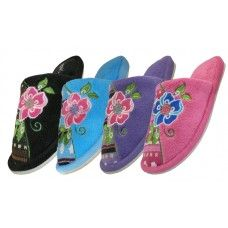 Wholesale Footwear Women's Satin Upper With Embroidered Floral House Slippers