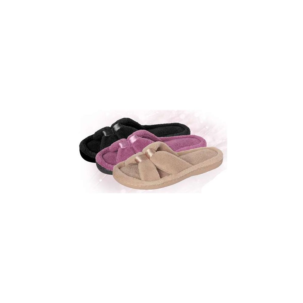 Wholesale Footwear Brny Collection Women's Terry Double Knots Plush Slipper