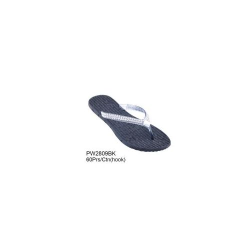 Wholesale Footwear Ladies Every Day Flip Flop With Studds In Black