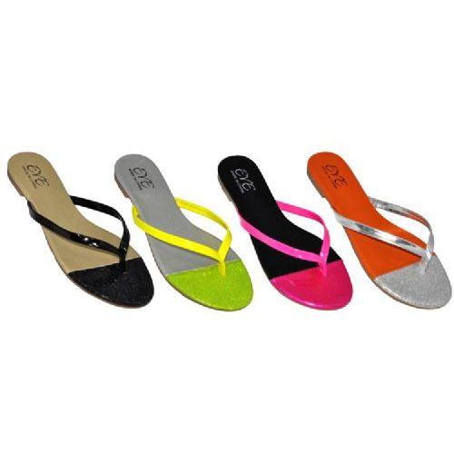 Wholesale Footwear Ladies Neon Color Summer Flip Flop