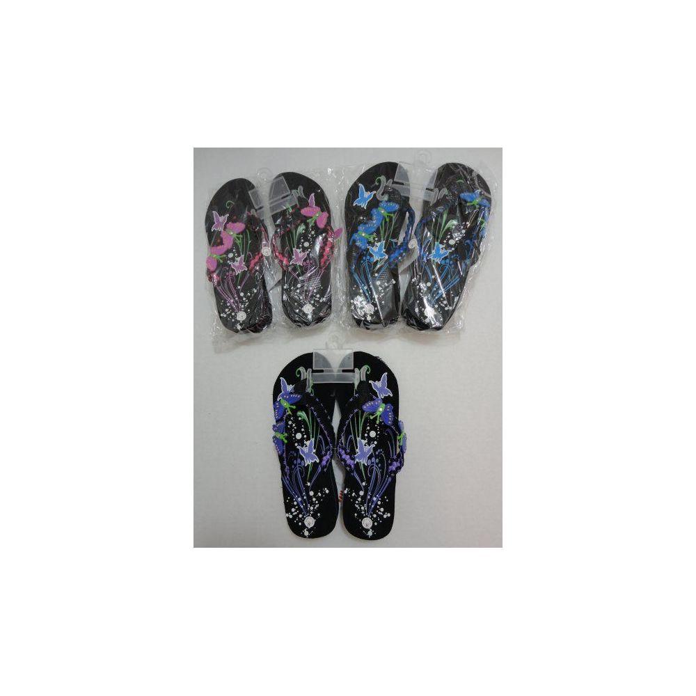 Wholesale Footwear Ladies Platform Flip Flops with Butterflies