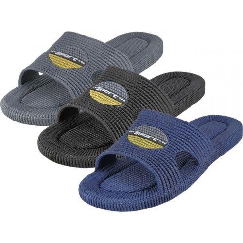 Wholesale Footwear Men's Soft Rubber Shower Slides