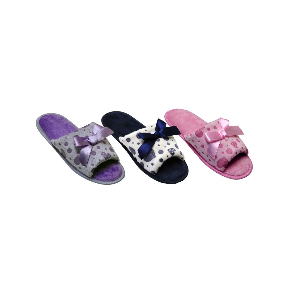 Wholesale Footwear Ladies Fashion House Slipper With Printed Heart And Bow