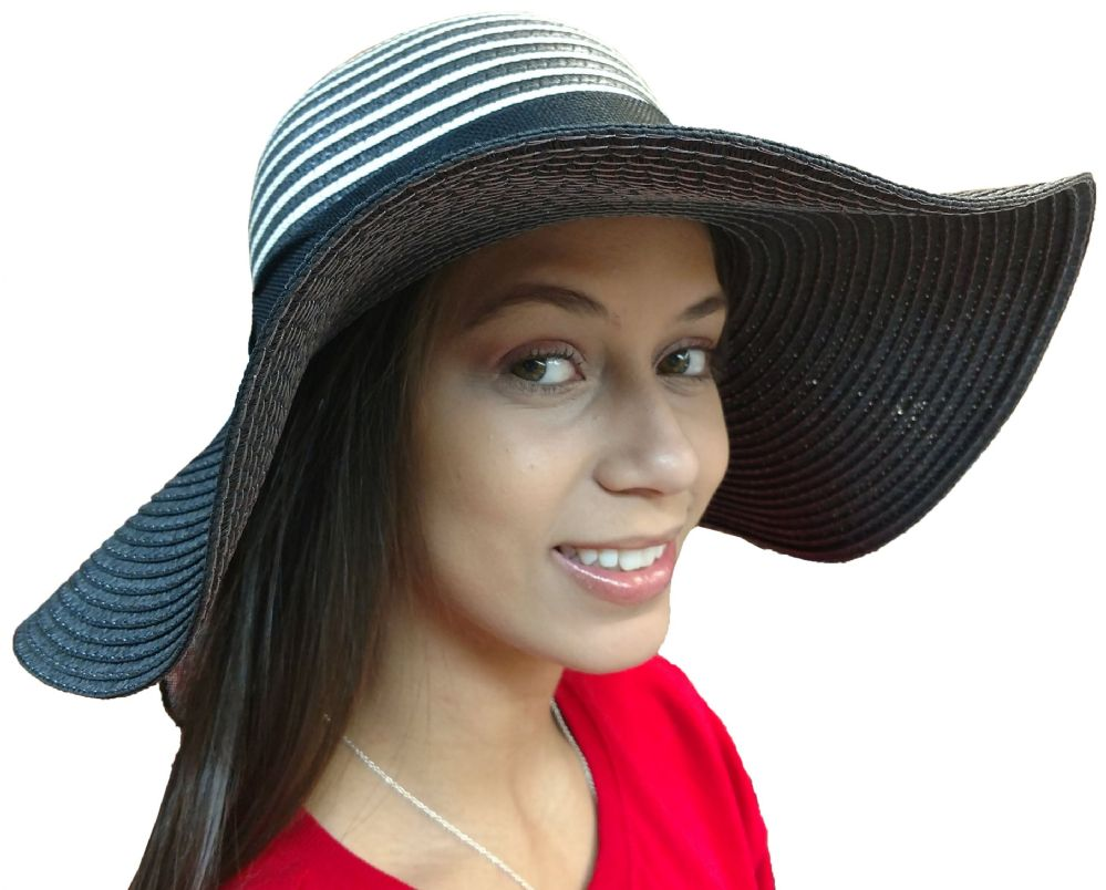 Wholesale Footwear Yacht & Smith Floppy Stylish Sun Hats Bow And Leather Design, Style C - Black