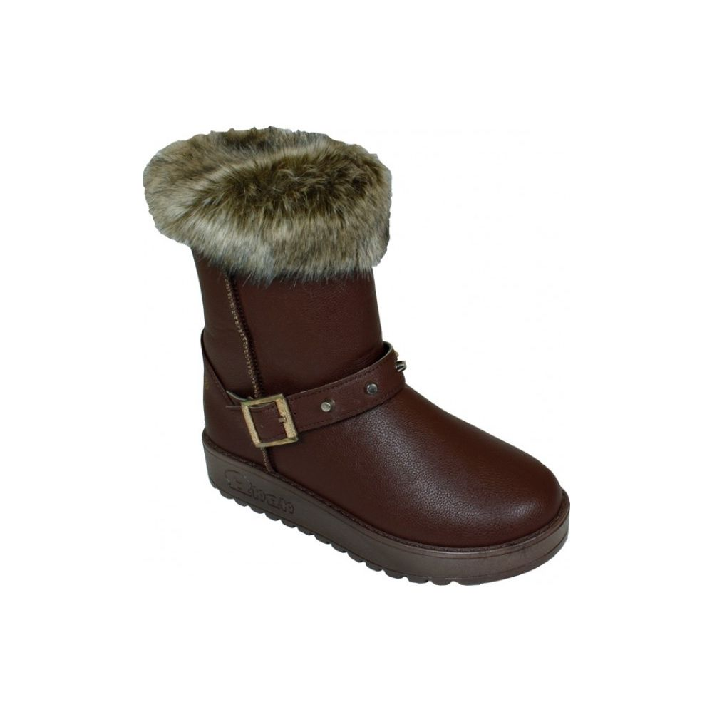 Wholesale Footwear Ladies Winter Boot With Buckle On The Side In Coffee Only