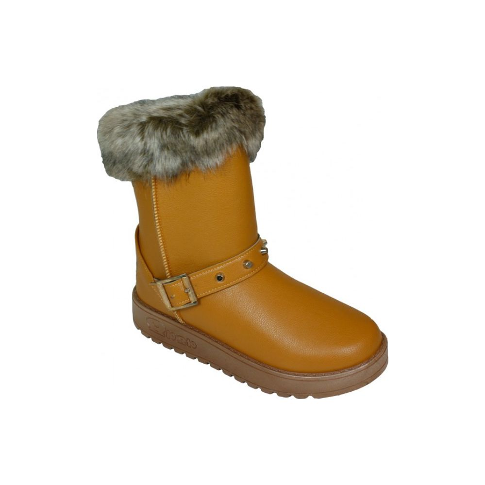 Wholesale Footwear Ladies Winter Boot With Buckle On The Side In Yellow Only