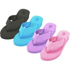 Wholesale Footwear Women's Fabric Upper Wedge Thongs