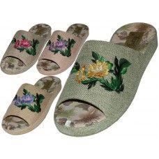 Wholesale Footwear Women's Satin Open Toes Flower Embroidery Upper House Slippers