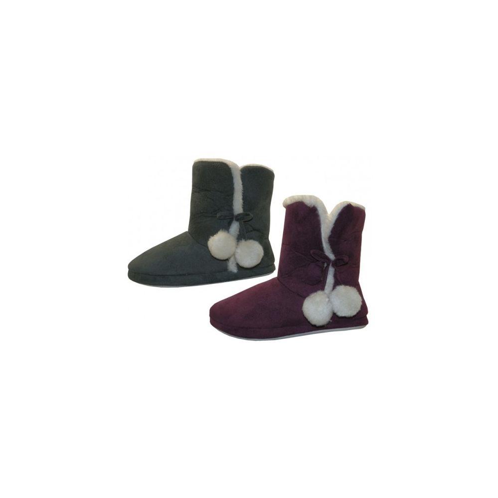 Wholesale Footwear Women's Side Pom Pom Bedroom Boots