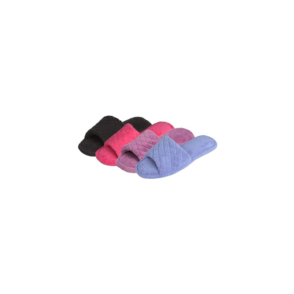Wholesale Footwear Women's Plush Slipper With Quilted Upper In Assorted Colors.