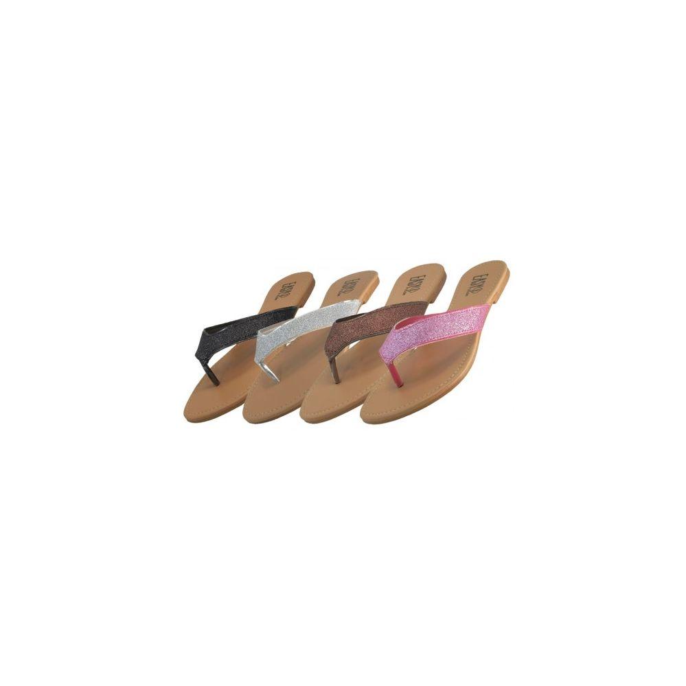 Wholesale Footwear Women's Glitter Flip Flops - at