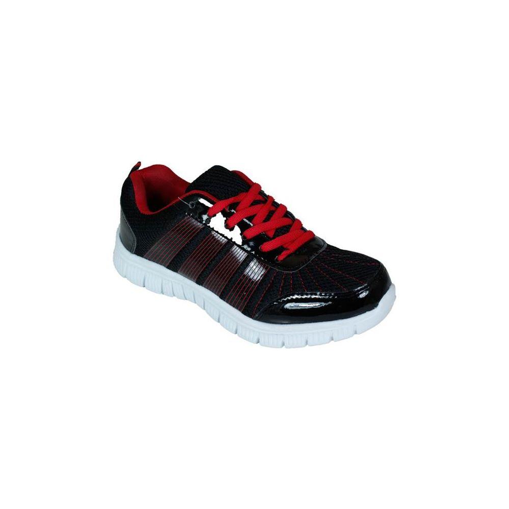 Wholesale Footwear Mens Running Sneakers In Black And Red