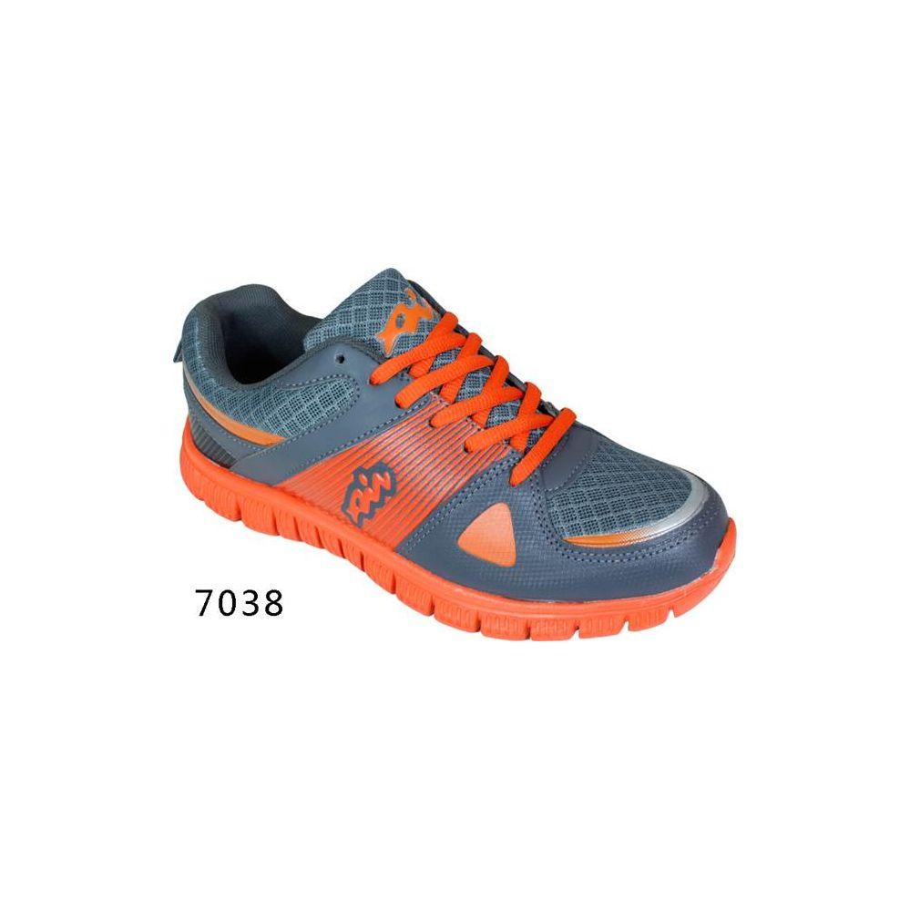 Wholesale Footwear Mens Running Sneakers Gray and Orange