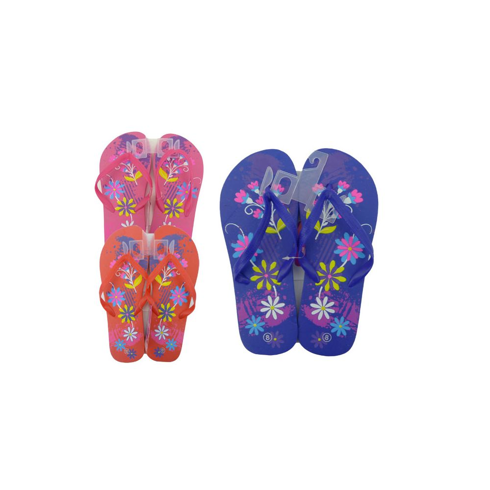 Wholesale Footwear Woman's Flower Printed Flip Flops
