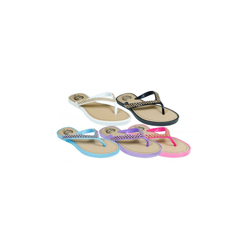 Wholesale Footwear Ladies Fashion Rhine Stone Flip Flops