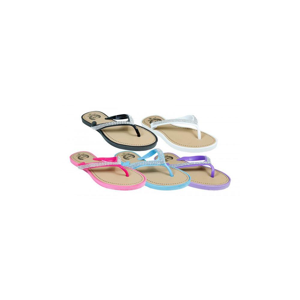 Wholesale Footwear Ladies Fashion Rhine Stone Flip Flops