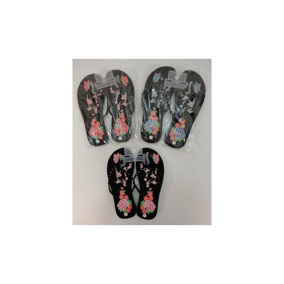 Wholesale Footwear Ladies FliP-Flops [large Flower & Butterfly]