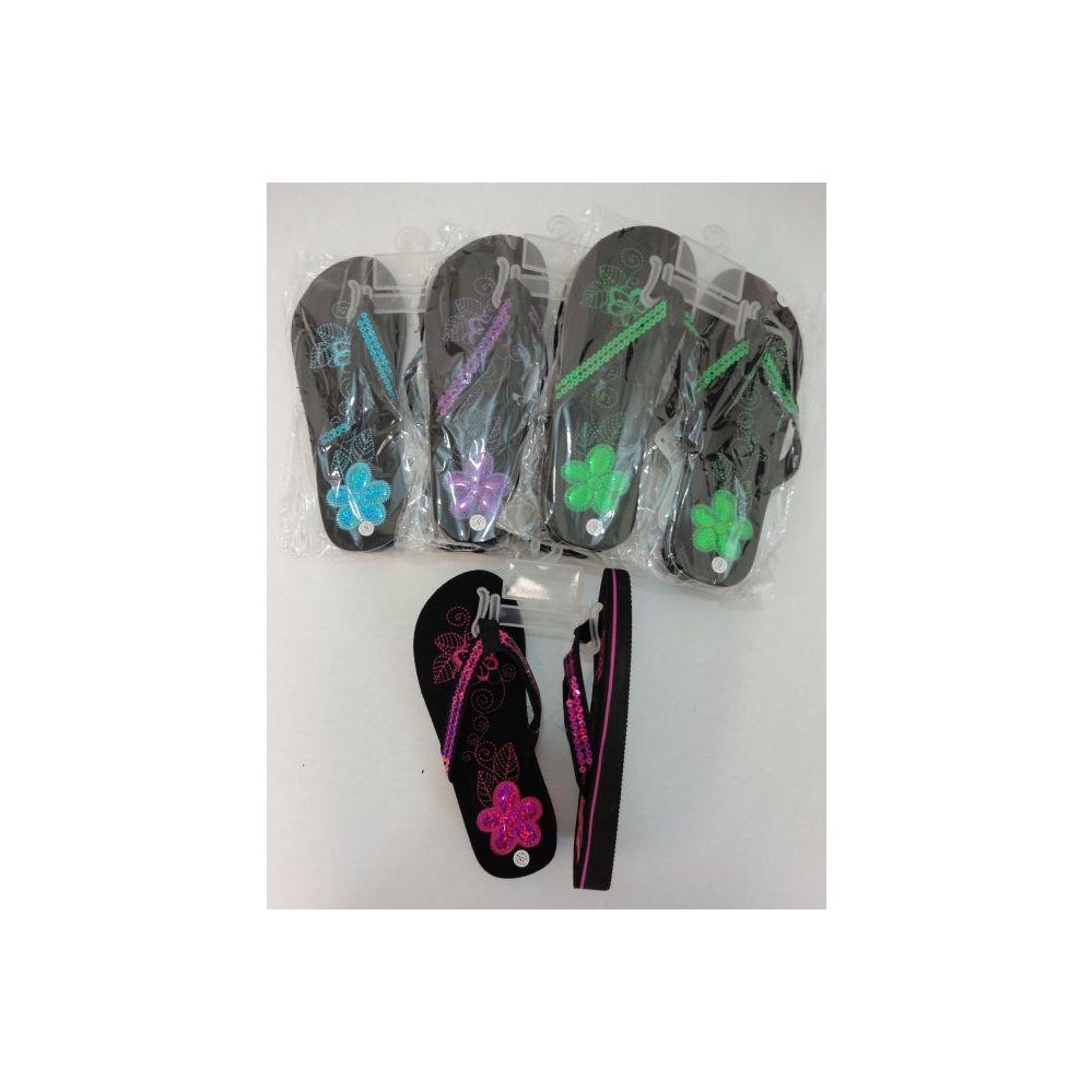 Wholesale Footwear Ladies Platform Flip-Flops [Sequin Flower]