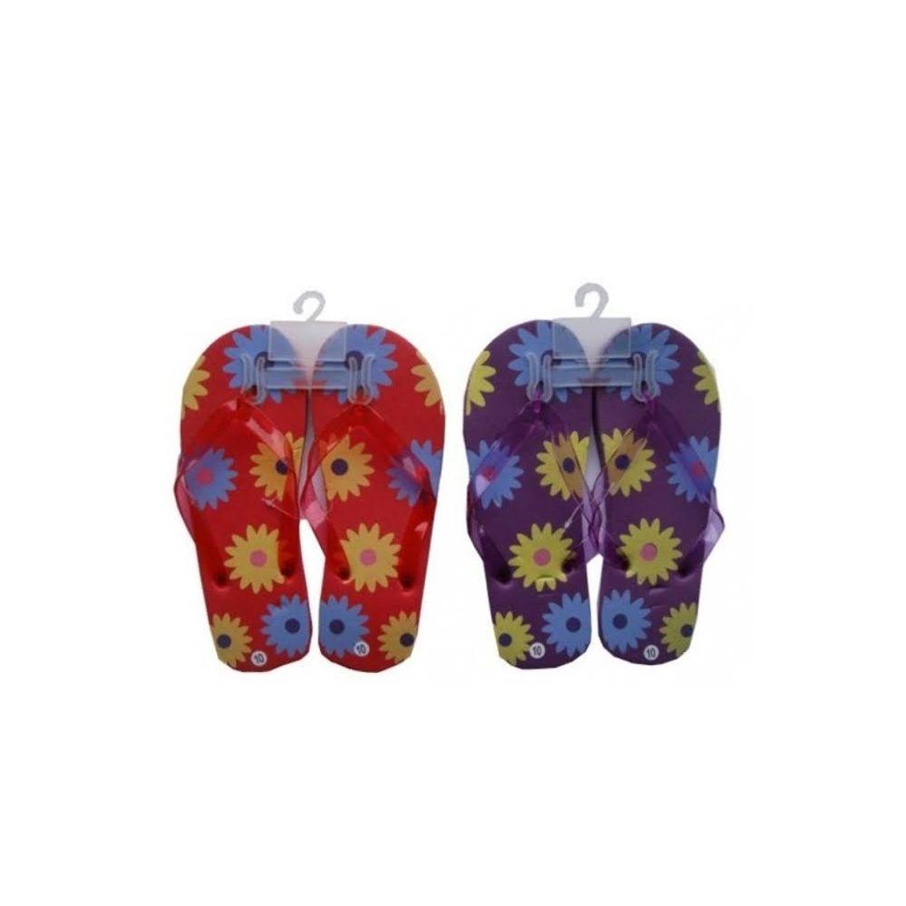 Wholesale Footwear Ladies Flower Printed Rubber Sandals