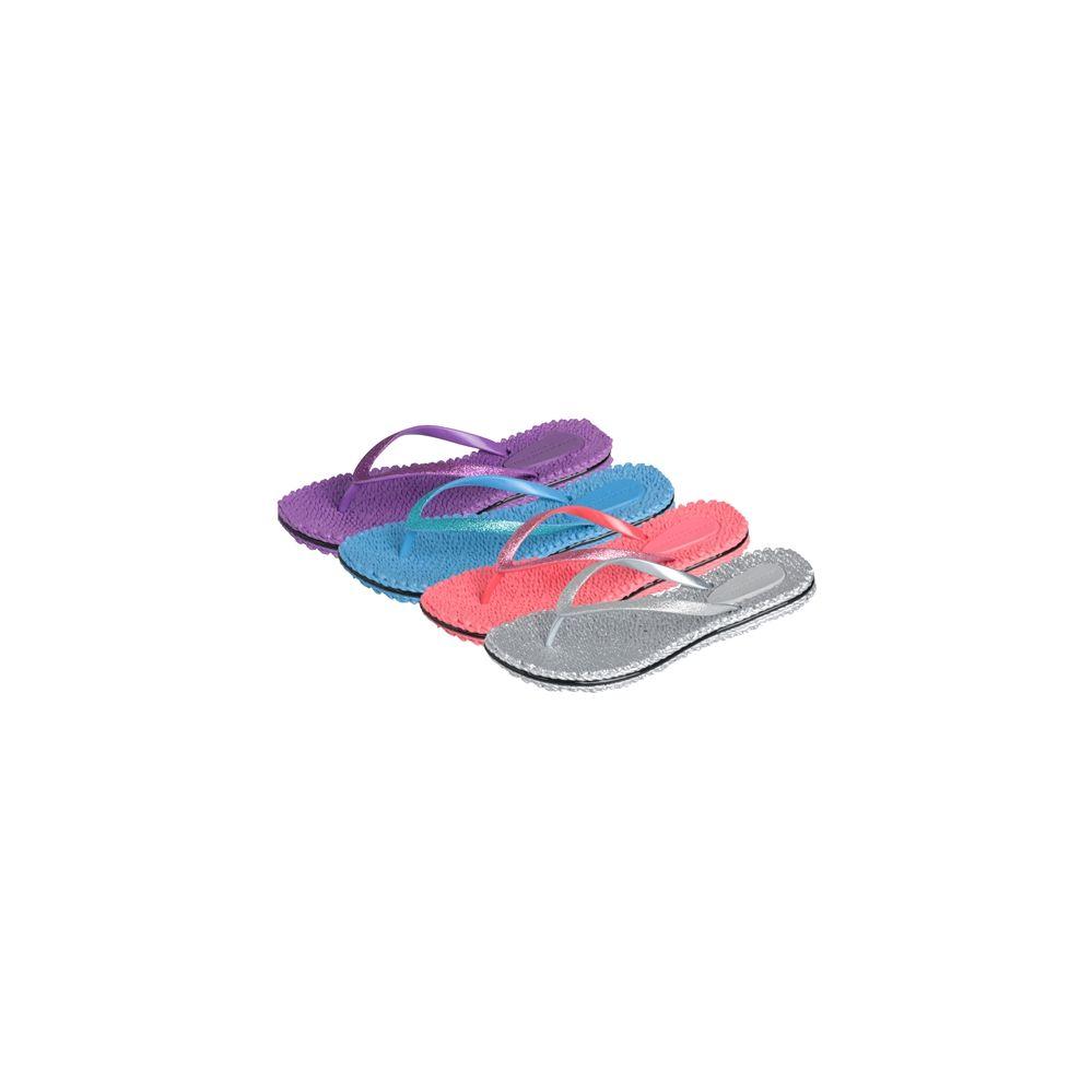 Wholesale Footwear Women's Silver/bright Colored Flip Flop Sizes & Colors Assorted Per Case