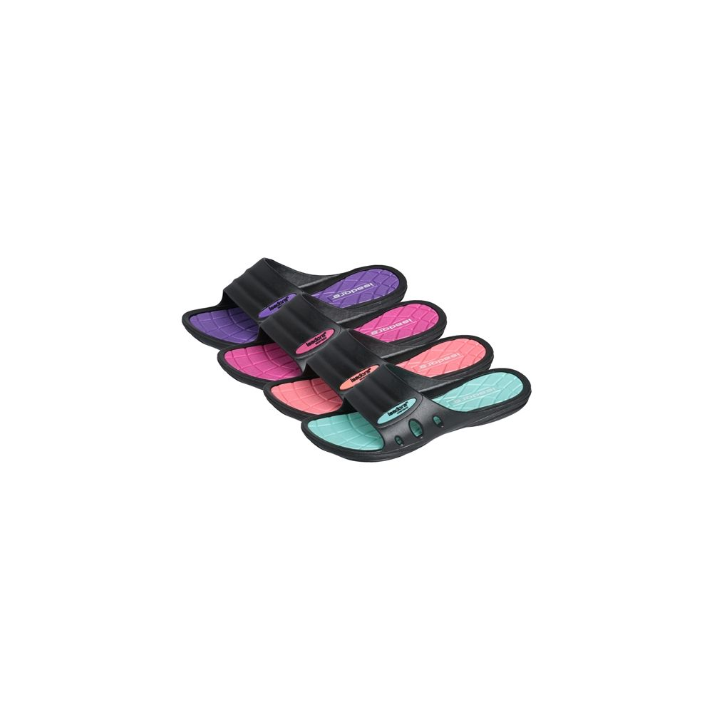 Wholesale Footwear Women's Pastel And Black Slipper With Isadora Logo. Sizes & Colors Assorted Per Case.