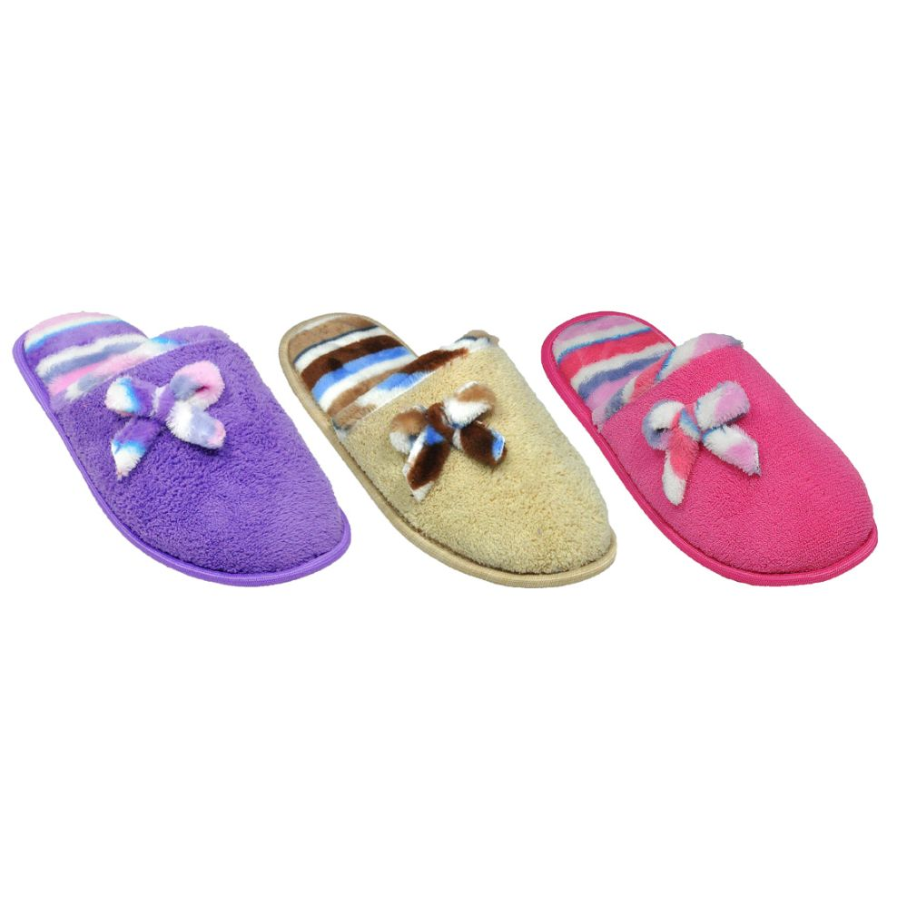 Wholesale Footwear Ladies House Slippers With Bow Assorted Colors