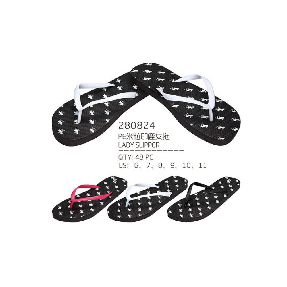 Wholesale Footwear Womans Reindeer Print Flip Flops