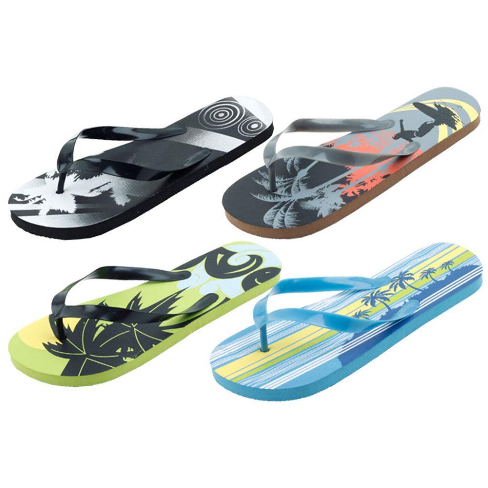 Wholesale Footwear Mans Assorted Tropical Printed Flip Flop