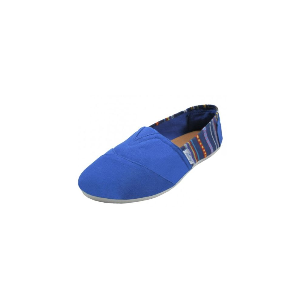 Wholesale Footwear Ladies Tom Like Canvas Flat With Indian Print Navy Color Only