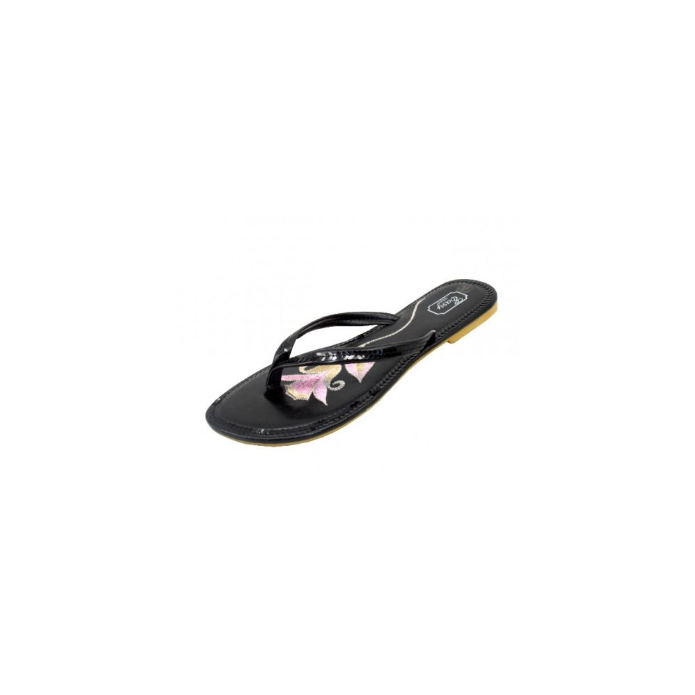 Wholesale Footwear Women's Embroidery Sequin Flip Flops ( Black Color )