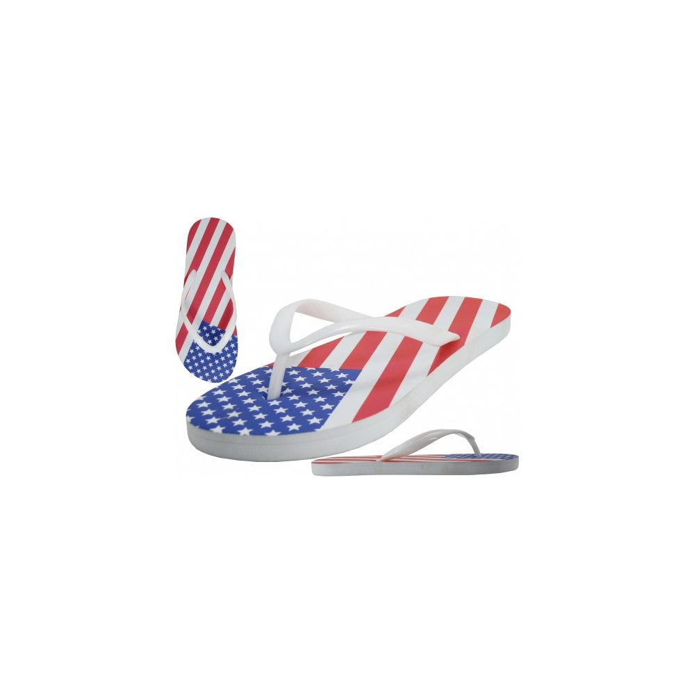 Wholesale Footwear Men's Us Flag Printed Rubber Thong Sandals