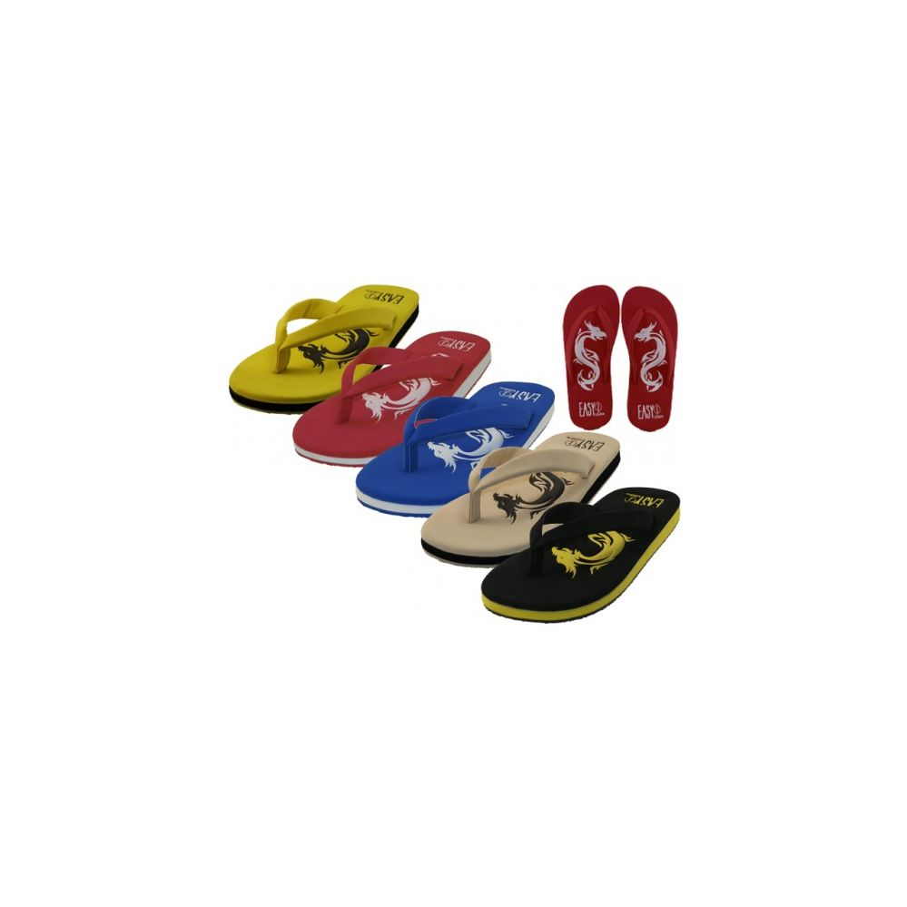 Wholesale Footwear Men's Dragon Embossed Thong Sandals