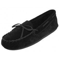Wholesale Footwear Wholesale Women's Black Leather Moccasins