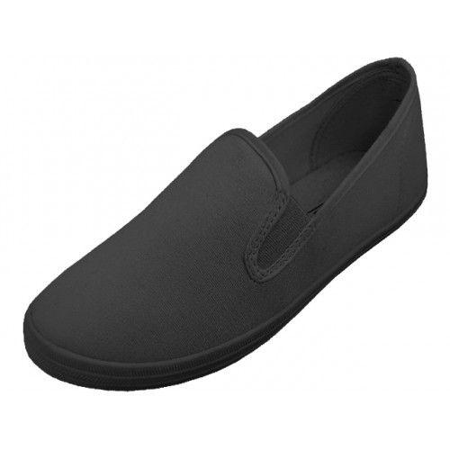 Wholesale Footwear Children's Slip On Twin Gore Canvas Shoes ( *All Black Color )