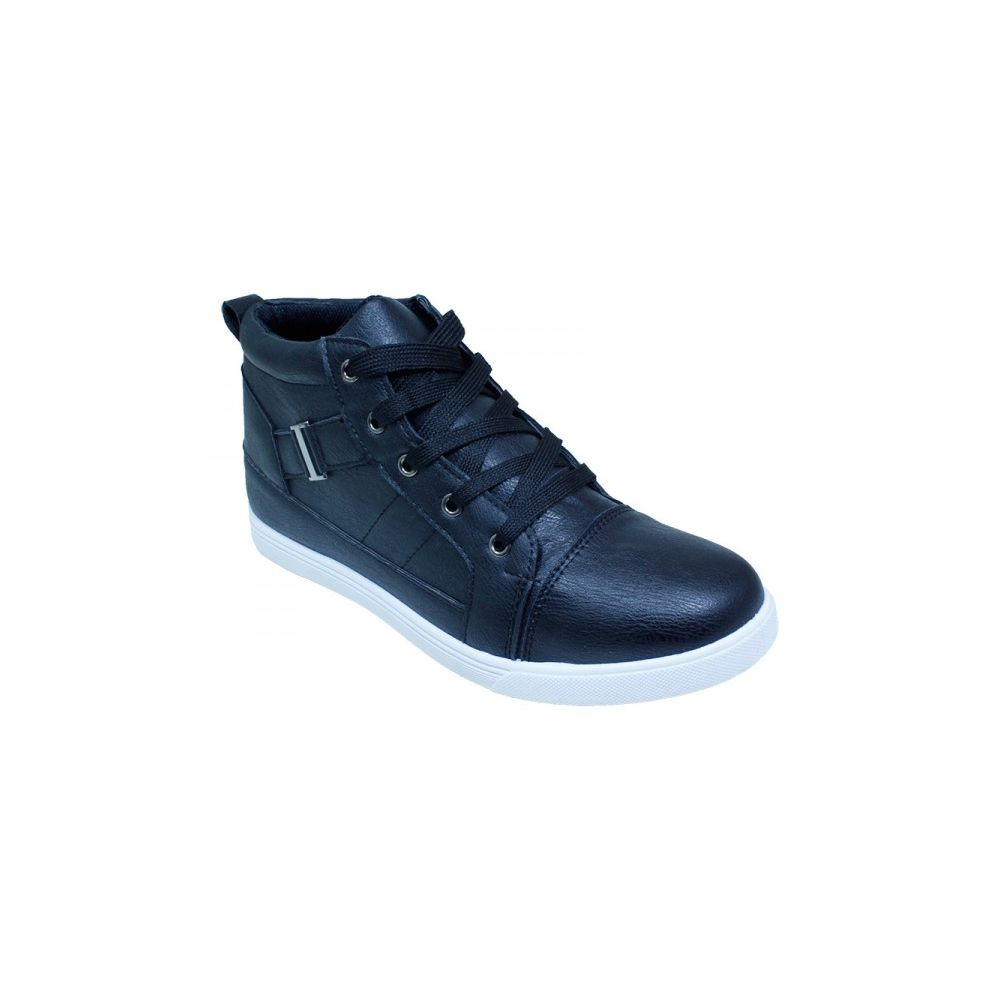Wholesale Footwear Men Casual High Top Shoes - Black