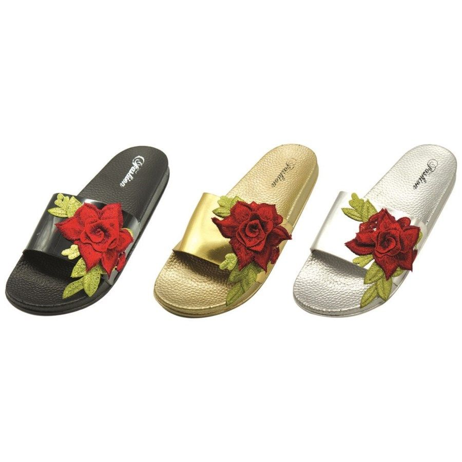 Wholesale Footwear Women's Flower Design Slip On Slipper