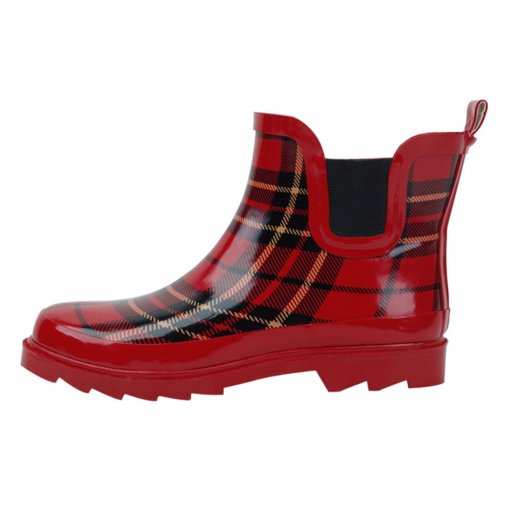 Wholesale Footwear Ladies Red Plaid Rubber Rain Boots (5 Inches Tall)