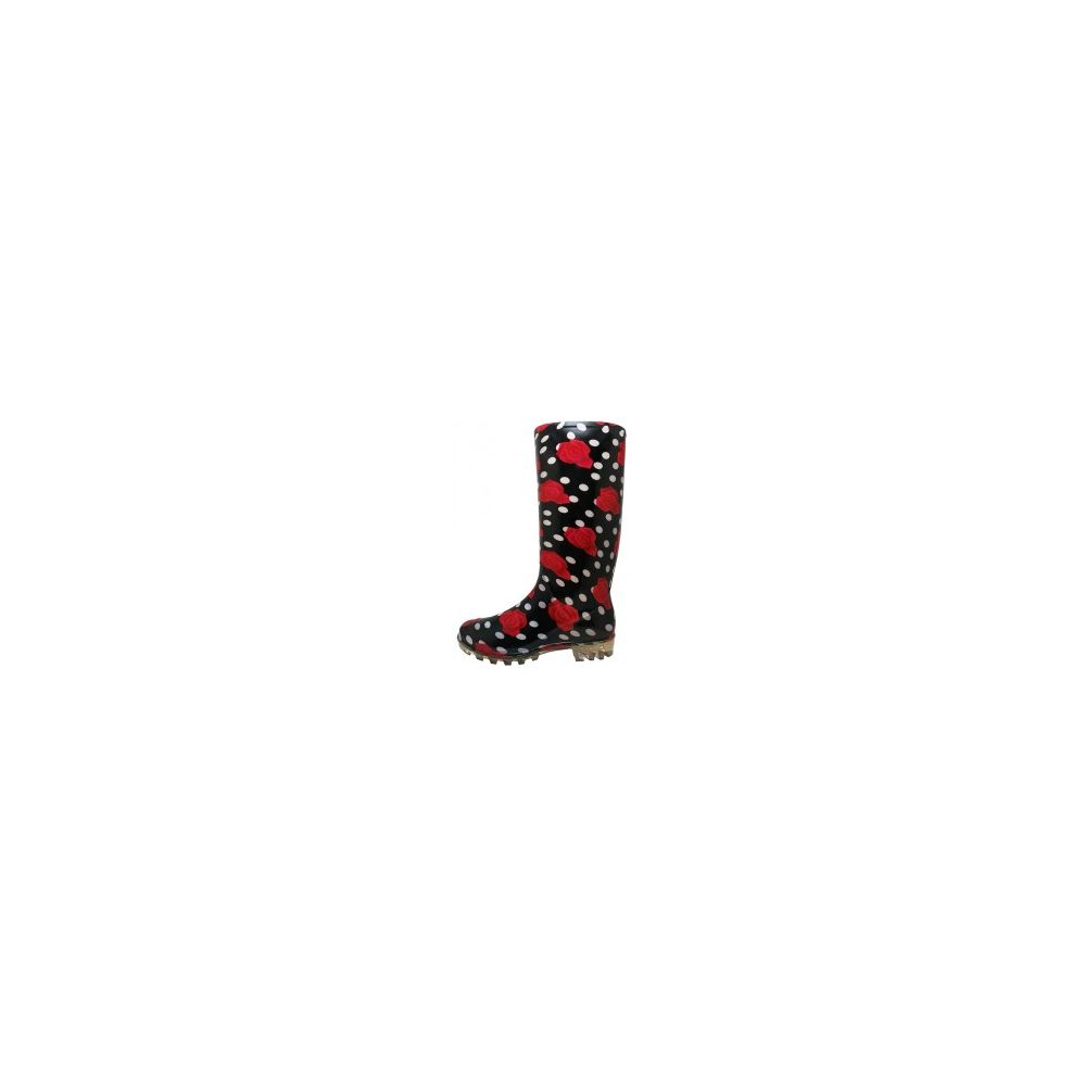 Wholesale Footwear 13 1/4 Inches Women's Black Red Roses Printed Rain Boots Size 6-11